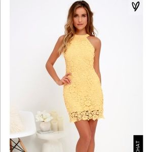 Lulus Yellow Lace Bodycon Dress